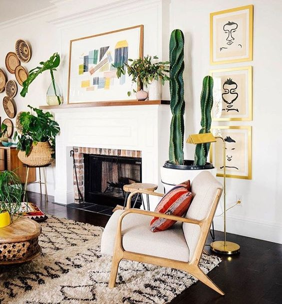 California Eclectic effortless decor Anthropologie style home cactus mid-century modern mcm