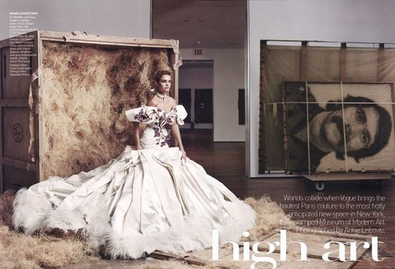 """High Art""  with Natalia Vodianova  Vogue US November 2004  Photographed by Annie Leibovitz    Natalia wears Dior Couture."