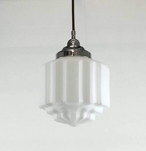 Stunning Art Deco Inspired Pendant Glass Opalglass 200mm H X 210mm