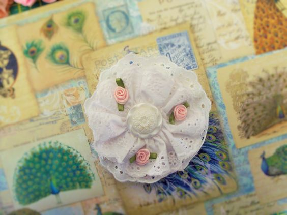 English Rose Eyelet Hair flower/ Girl's Headband