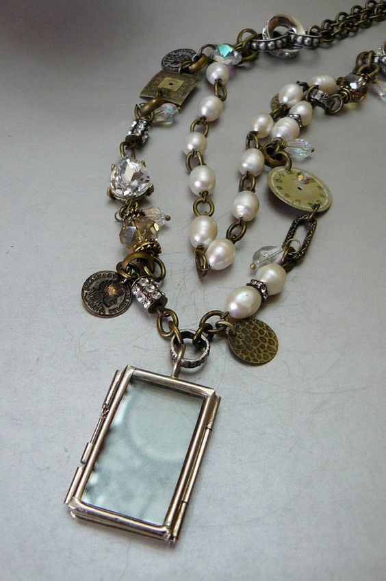 Antique Clock Face Necklace with 12-14 mm Freshwater Pearls by pmdesigns09