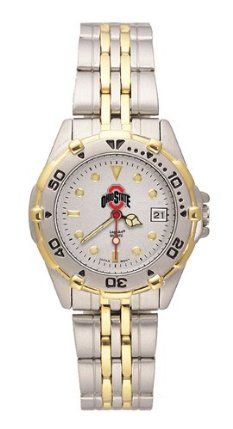 NCAA Ohio State Buckeyes Women's All Star Watch Stainless Steel Bracelet by Logo Art. $69.99. Case is 1 1/8-Inch wide, dial diameter 3/4-Inch. Brushed chrome finish brass case, two-tone roating top ring and screw-down back with two-tone stainless steel bracelet. Limited lifetime warranty. Officially licensed women's two-tone team logo watch. Miyota quartz movement (377 battery). NCAA Ohio State Buckeyes Women's All Star Watch Stainless Steel Bracelet