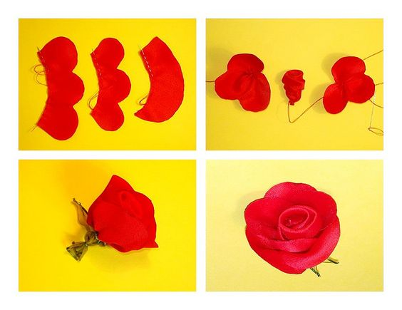 Fabric red rose tutorial