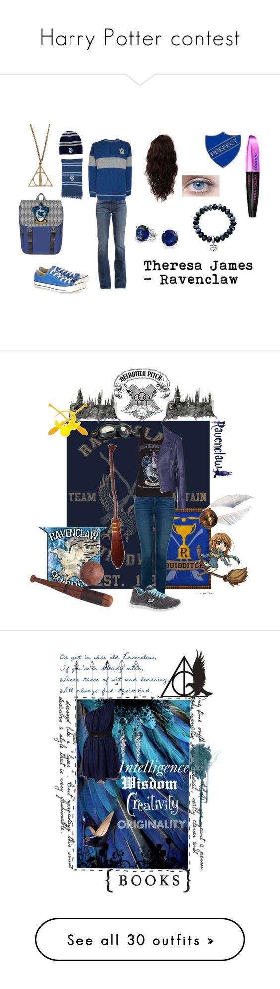 """""""Harry Potter contest"""" by sunako-nakahara ❤ liked on Polyvore featuring 7 For All Mankind, WigYouUp, Fiorelli, Converse, Bling Jewelry, women's clothing, women, female, woman and misses"""