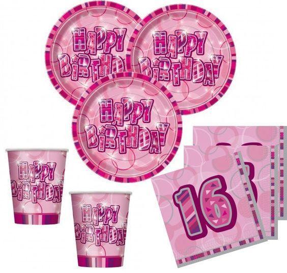 Sweet Sixteen 16. Geburtstag Party Deko Set in Pink mit Glitzer