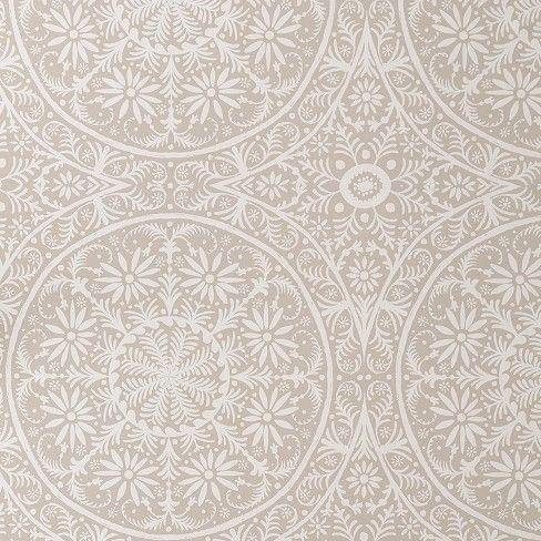 Cadiz Medallion Peel Stick Removable Wallpaper Toasted Walnut Black Opalhouse Bathroom Wallpaper Beige Wallpaper Accent Wall Accent Walls In Living Room