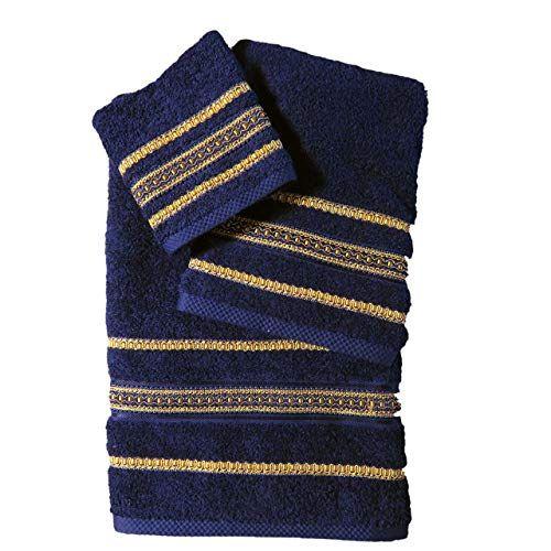 3 Piece Decorative Towel Set Navy Blue With Gold Trim Ca Https Www Amazon Com Dp B07mrj6zym Ref Cm Sw R Pi Dp X Swc Decorative Towels Towel Set Gold Trim