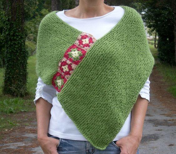 Verde afegão, Mão Knit Crochet Poncho- My Own Design-BYSWEETMOM Original Knitting Crochet Handmade Ponchos, campânulas, lenços, nupcial do casamento Xailes Boleros Shrugs
