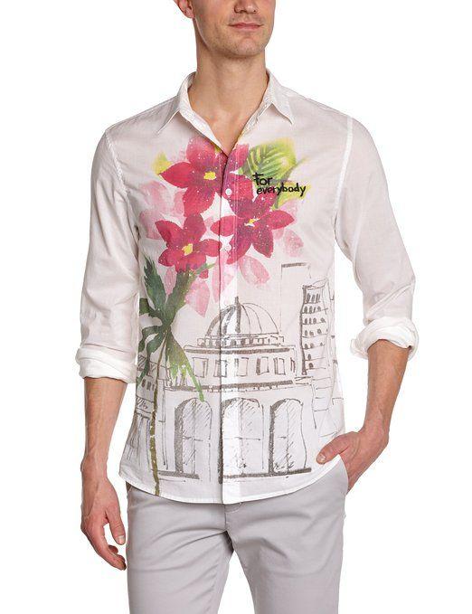 Desigual Herren Regular Fit Freizeithemd CAM_CIUDAD FLORES, Gr. Kragenweite: 38 cm (Herstellergröße: S), Weiß (Blanco)