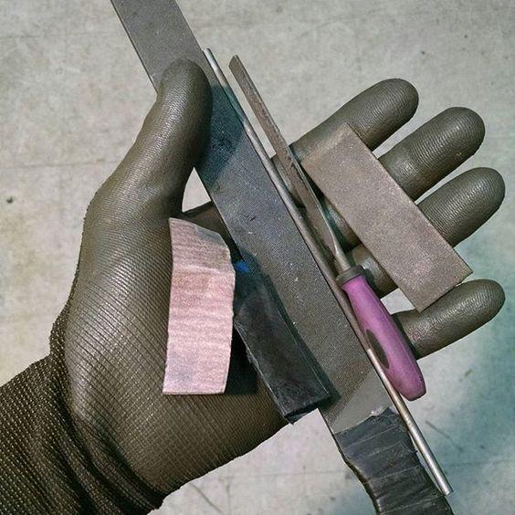 Tools of the trade. #bladeforums #blacksmith #knifecommunity #knifemaking #knifeporn #files #sandpaper