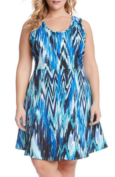 Karen Kane Ikat Print Fit & Flare Dress (Plus Size)