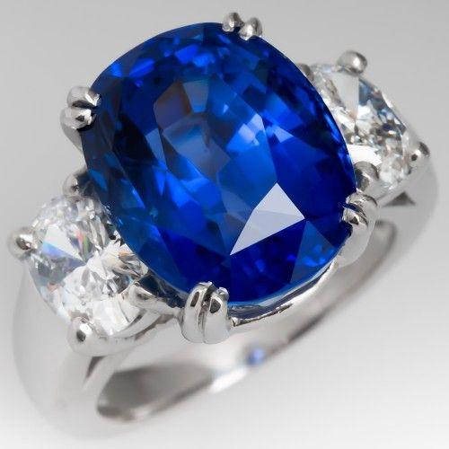 12 Carat Beautiful Blue Sapphire Diamond Three Stone Ring Plati Sapphire Engagement Ring Blue Engagement Rings Sapphire Blue Sapphire Engagement Ring Cushion