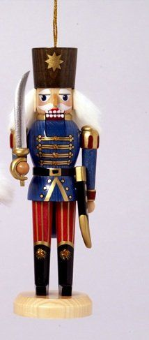 """5"""" Royal Green Red and Gold Nutcracker Soldier with Sword Christmas Ornament Kurt Adler"""