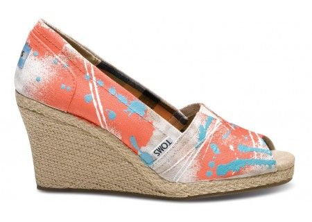 TOMS wedges: Toms Wedges, Tom Shoes, Toms Shoes, Wedge Toms, Hand Painted Toms, Coral Wedges, Hate Toms, Tom Wedges