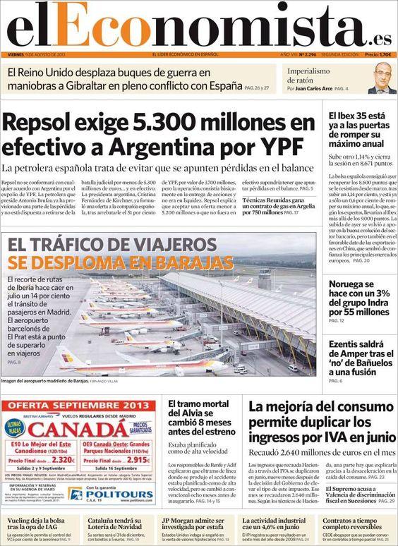 Los Titulares y Portadas de Noticias Destacadas Españolas del 9 de Agosto de 2013 del Diario El Economista ¿Que le pareció esta Portada de este Diario Español?