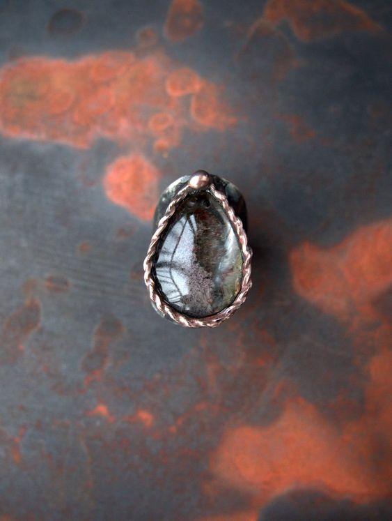 Medieval phantom quartz ring mysterious lodolite ring   Etsy