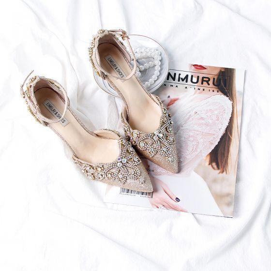 Blyszczace Zlote Rhinestone Buty Slubne 2020 Skorzany Cekinami Cekiny Z Paskiem 9 Cm Szpilki Szpiczaste Slub Na Obcasie Stiletto Heels Wedding Heels Rhinestone Wedding Shoes
