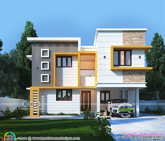 Contemporary Flat Roof Beautiful House Kerala Home Design Kerala House Design Flat Roof House Duplex House Design