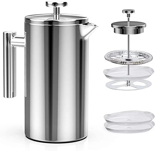 Bine French Press Coffee Maker Stainless Steel 8 Cups 34oz Double Wall Metal Insulated Coffee Tea Mak French Press Coffee Tea Makers French Press Coffee Maker