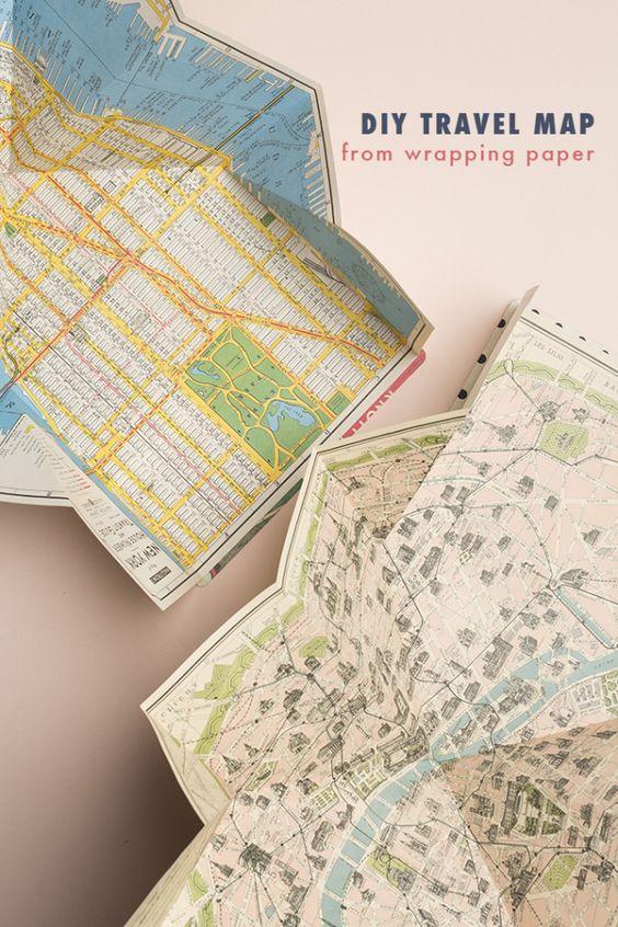 DIY travel map from wrapping paper - The House That Lars Built DIY : une jolie carte pour voyager grâce à une technique de pliage astucieux