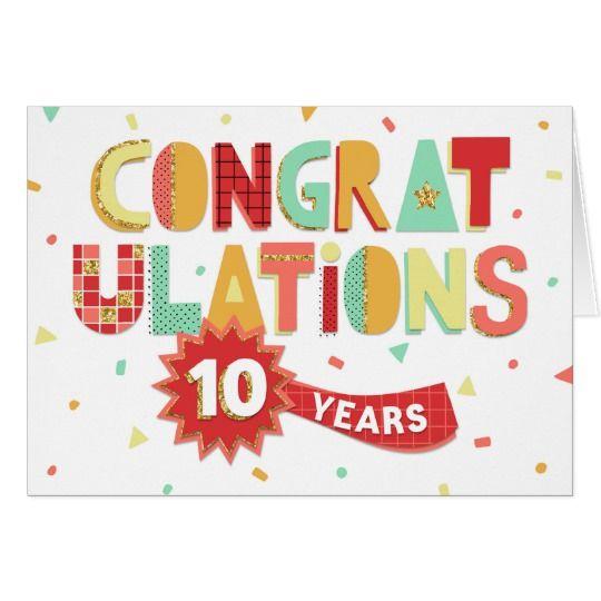 Employee Anniversary 10 Years Fun Congratulations Card Zazzle Co Uk Work Anniversary Work Anniversary Cards Employee Anniversary Cards