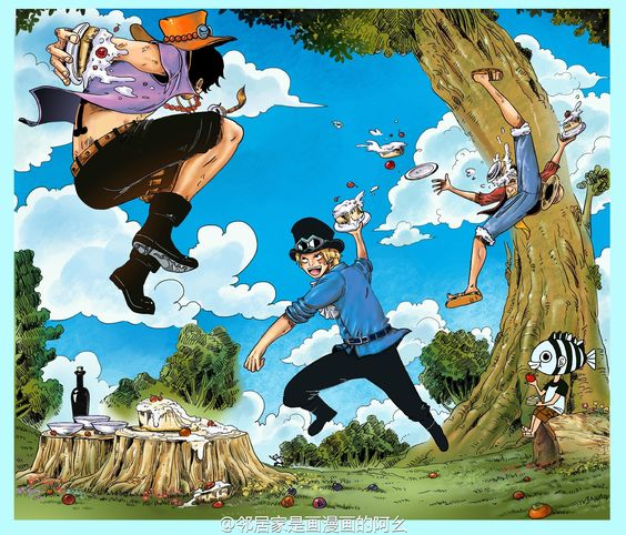 Ace And Luffy Fighting Against Marine Officers: Oh Look Oda Sensei Is Sitting At There And Eat Apple One