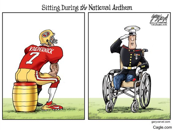 Sitting During the National Anthem by cartoonist Gary Varvel published on 2016-08-31 16:28:26 at Cagle.com. Gary Varvel is the cartoonist for the <em>Indianapolis Star</em>. Please contact your loc…