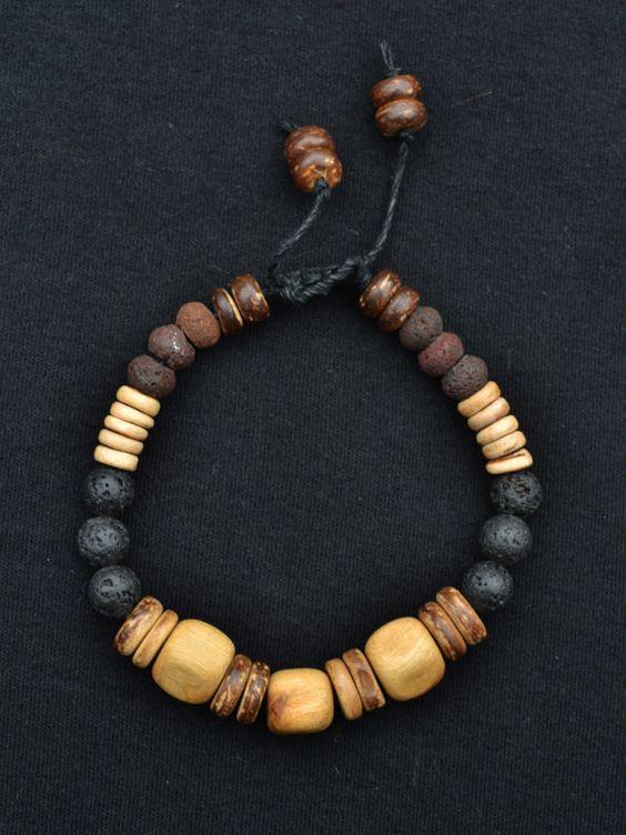 Men's Natural bracelet Juniper Wood Lava beads by TaikaEarth, £20.00~<3