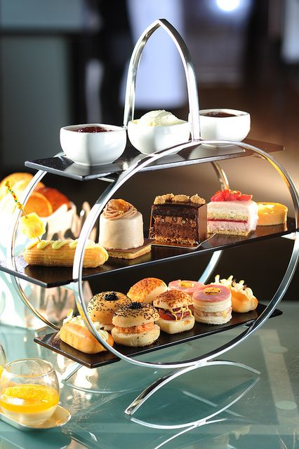 pastries trays and deserts on