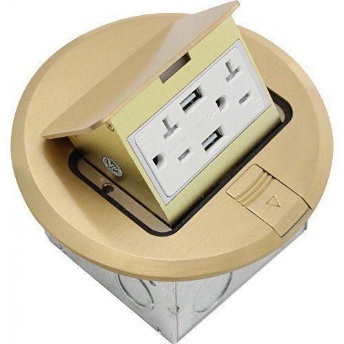 Orbit Industries Flbpu Du R Br Round Pop Up Floor Box Brass With Images Floor Boxes Electricity Flooring