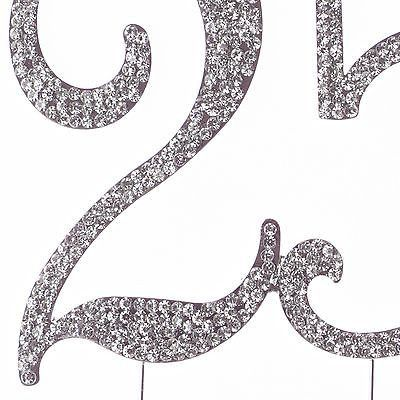 25 Cake Topper for 25th Birthday or Anniversary - Party Supplies & Decoration Ideas - Silver Rhinestone
