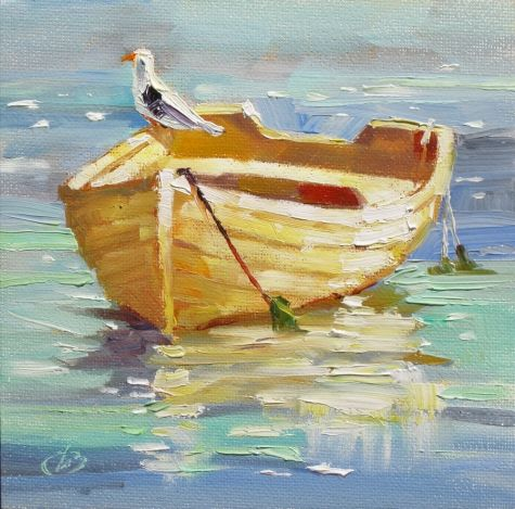 BOAT, SEA GULL, HARBOR, COLORFUL IMPRESSIONIST OIL PAINTING by TOM BROWN, painting by artist Tom Brown: