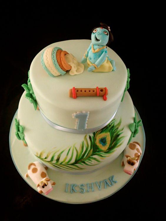 Krishna Birthday cake Baby Krishna cake Pinterest ...