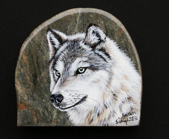 Handpainted+White+Wolf