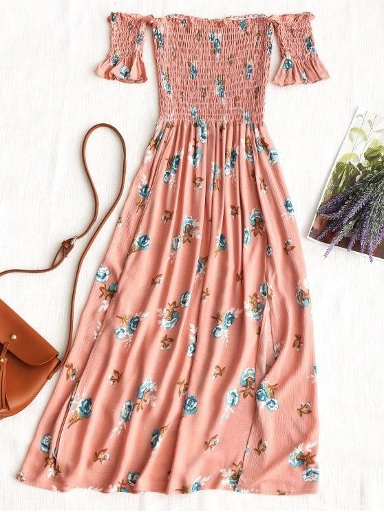 Fenda Floral Smocked Off Shoulder Vestido Midi - Rosa S