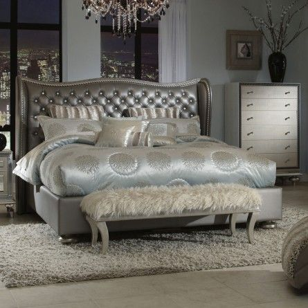 Aico hollywood swank graphite bed gallery furniture for I furniture houston