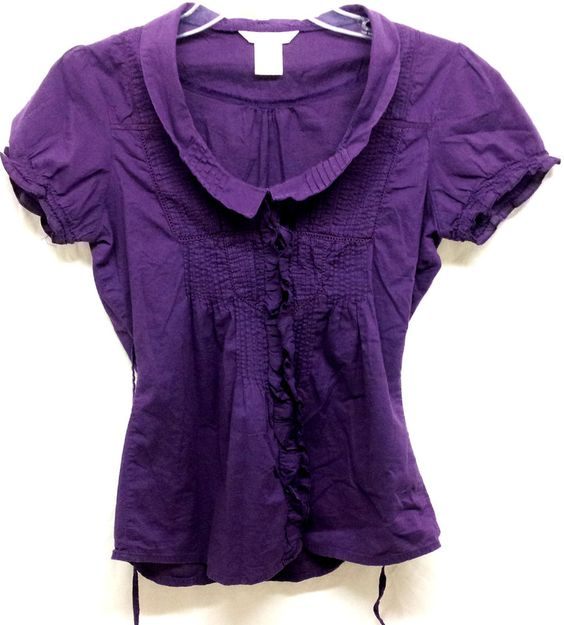 Charlotte Russe Purple Button Front Short Sleeve Shirt Blouse Top Size M Medium #CharlotteRusse #Blouse #Casual