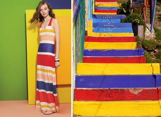 Inspiration: The colorful public spaces of Valparaiso, Chile and a Splendid striped maxi dress.