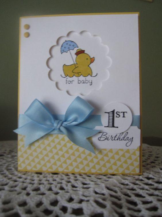 Stampin' Up Handmade Greeting Card Baby Boy's 1st by ConroysCorner
