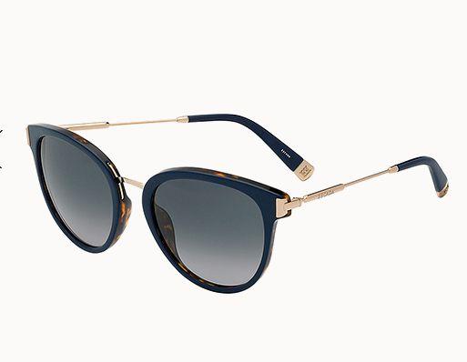 Oversize-Sonnenbrille+mit+Metallsteg+und+goldfarbenen+Bügeln+von+Escada,+um+160+Euro
