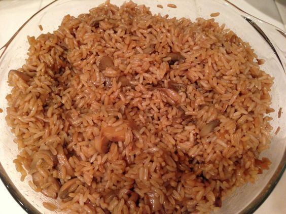 Mushroom rice casserole (OVEN FRIED RICE)  very easy my kids favorite.