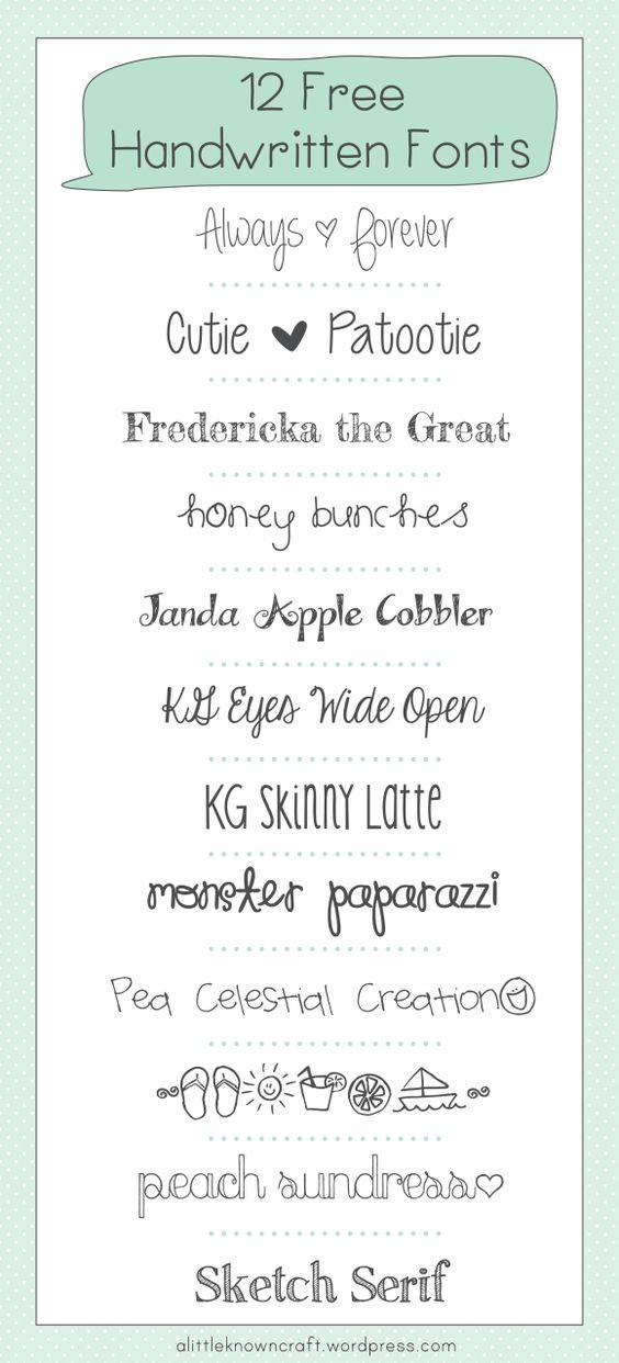 12 Free Handwritten Fonts - A Little Known Craft - 04-22-13