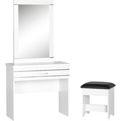 Home & Haus 1 Drawer Dressing Table Set with Mirror & Reviews | Wayfair…