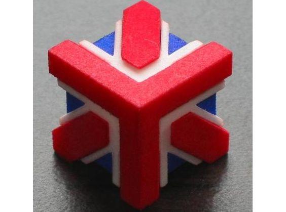 Union Jack Cube 3d printed Art Accessories assembled 1