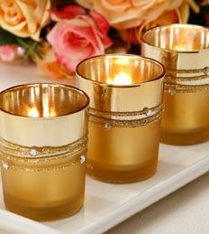 Gold Plated Cord with Rhinestone Votive Holder