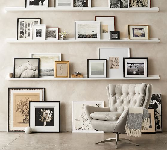 Wood Gallery Frames In A Box Floating Shelves Living Room Wall Decor Living Room Living Room Wall