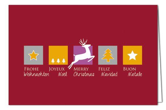 Weihnachtskarte Rot, mit silbernem Umschlag