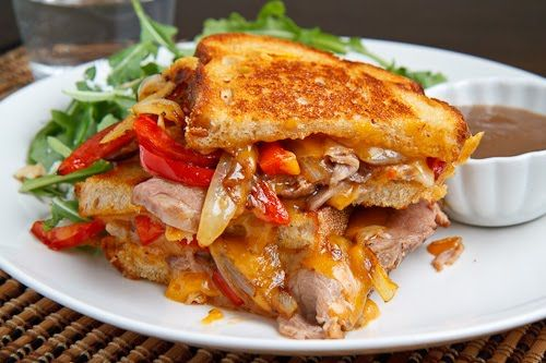 Roast Beef Grilled Cheese Sandwich with Caramelized Onions, Peppers ...