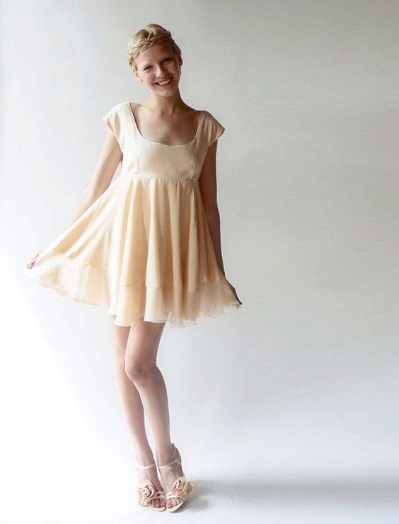 Peach Babydoll Dress by Dahl by alisondahl on Etsy, $248.00