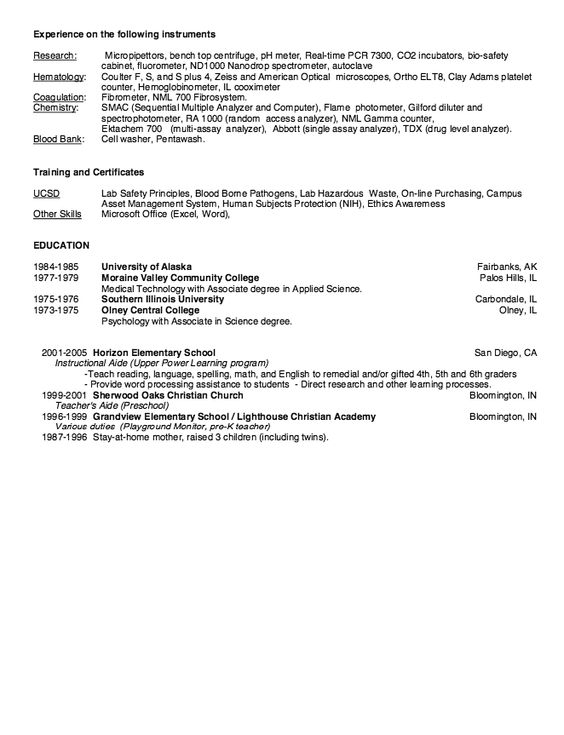 Blood Bank Technologist Resume Example - http\/\/resumesdesign - associates degree resume